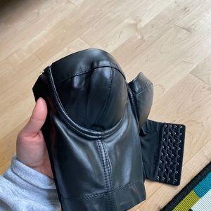 Faux leather corset